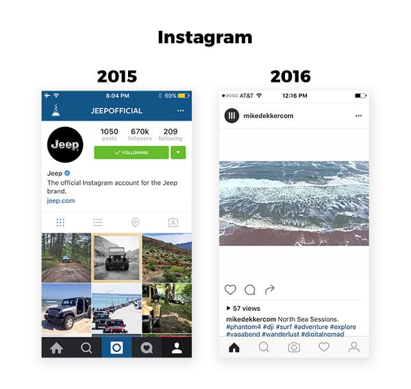 App designtrend 2016 Instagram