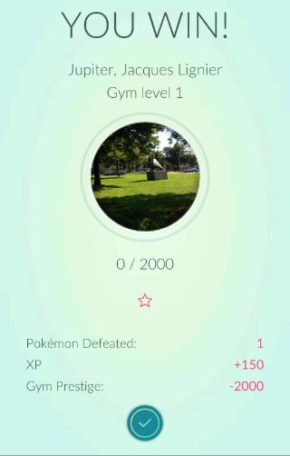 Pokemon Go Gym gevecht gewonnen