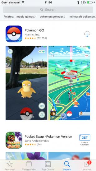 Pokémon Go in de App Store.