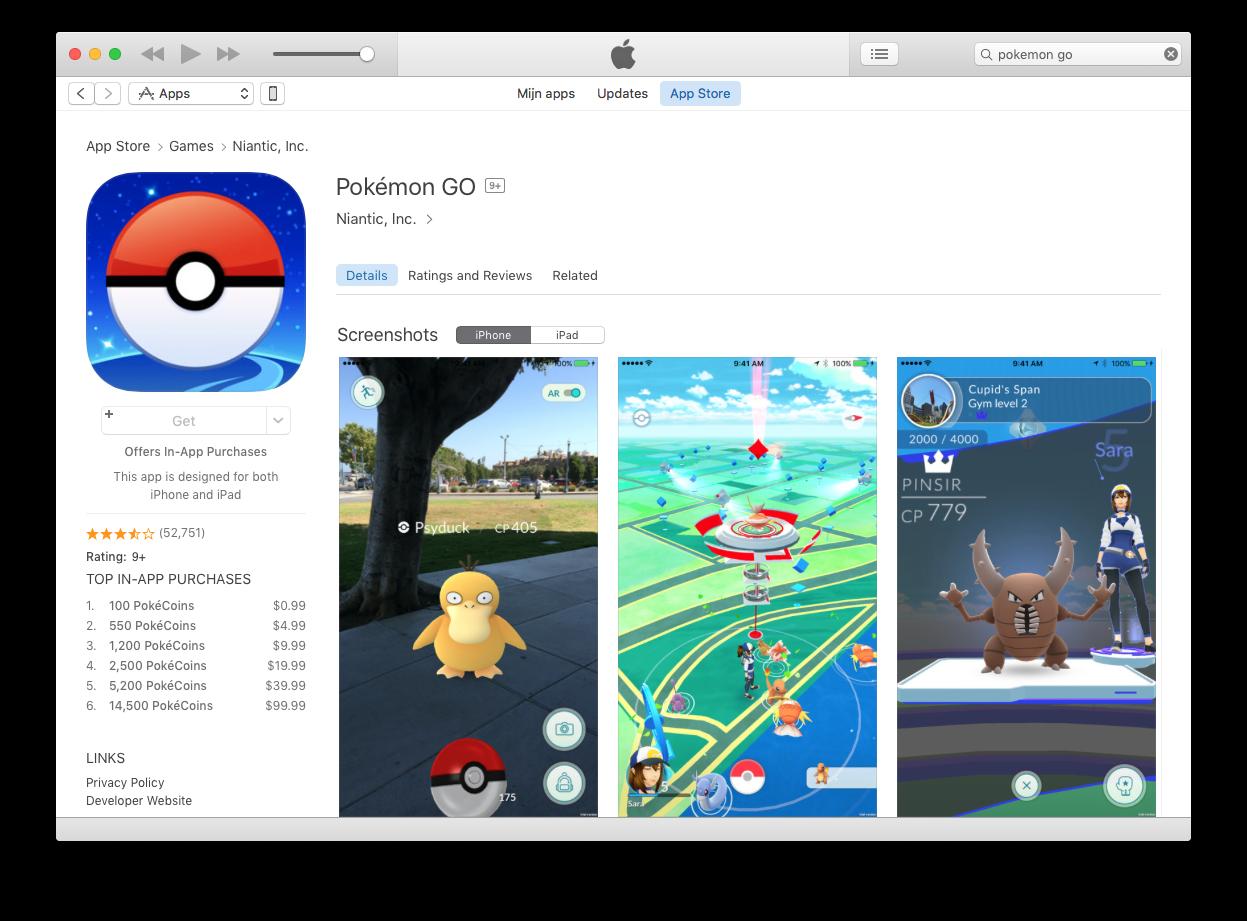 Pokémon Go in iTunes.