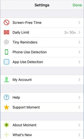 Moment-app - Familie-tijdsperiode instellen