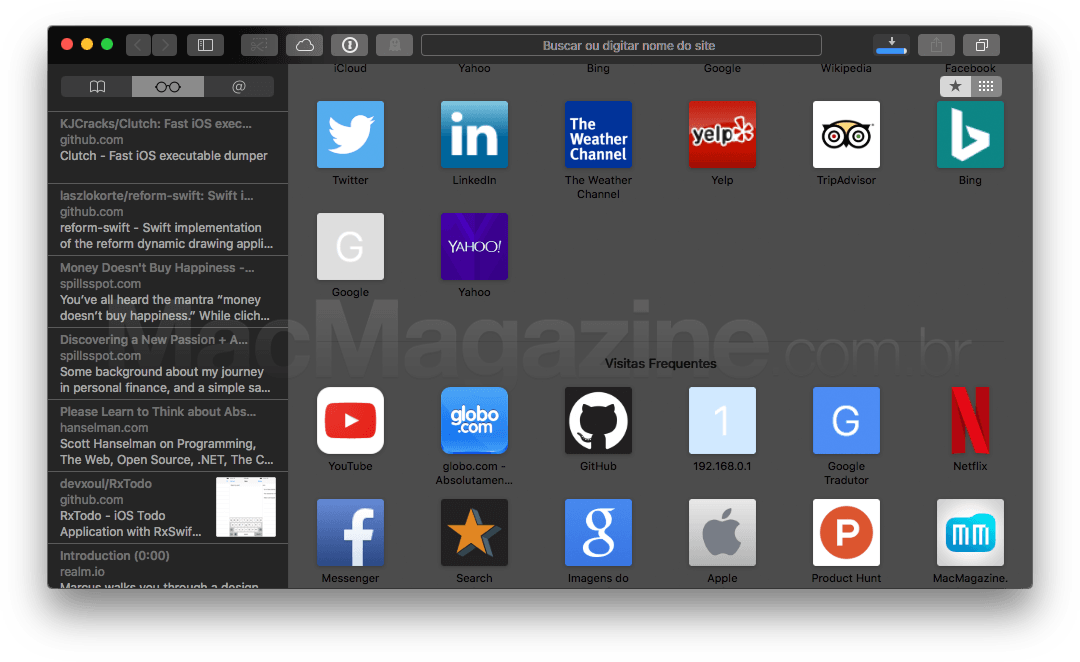 Safari in het donker in macOS Sierra.