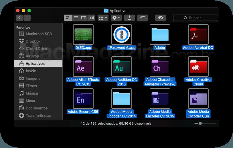 macOS Sierra met een donkere Finder.