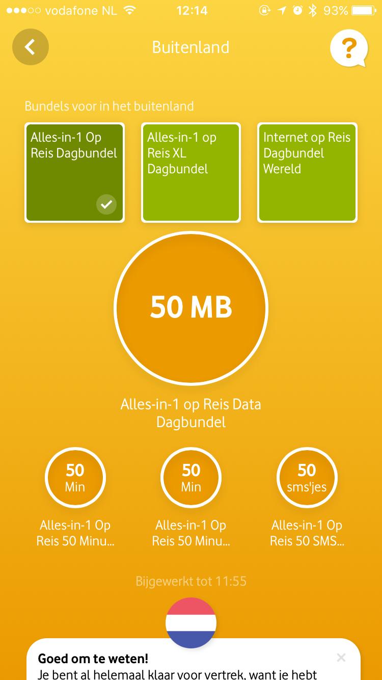 Buitenland in de vernieuwde My Vodafone-app.