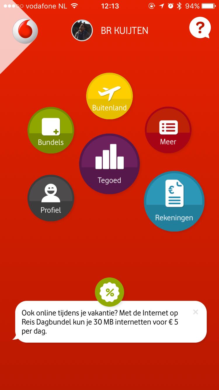 Hoofdmenu van de vernieuwde My Vodafone-app.