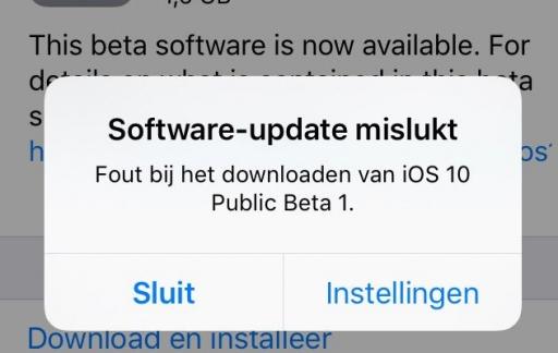iOS 10: Software-update mislukt