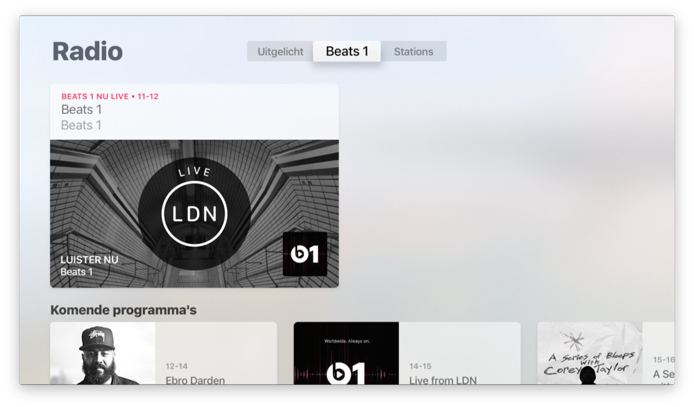 Beats 1 in Apple Music op tvOS 10 op Apple TV.