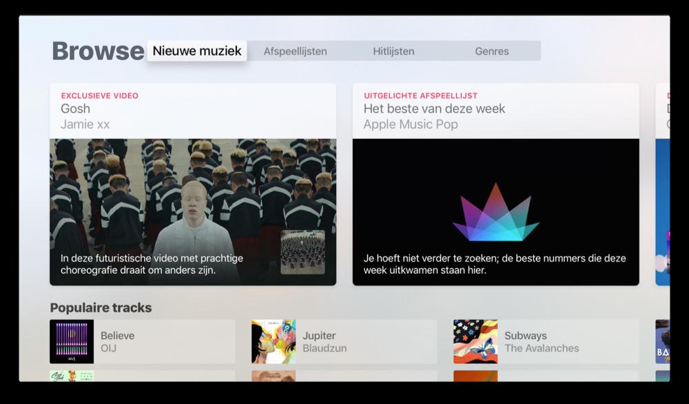 Nieuwe muziek ontdekken in Browse in Apple Music op tvOS 10 op Apple TV.