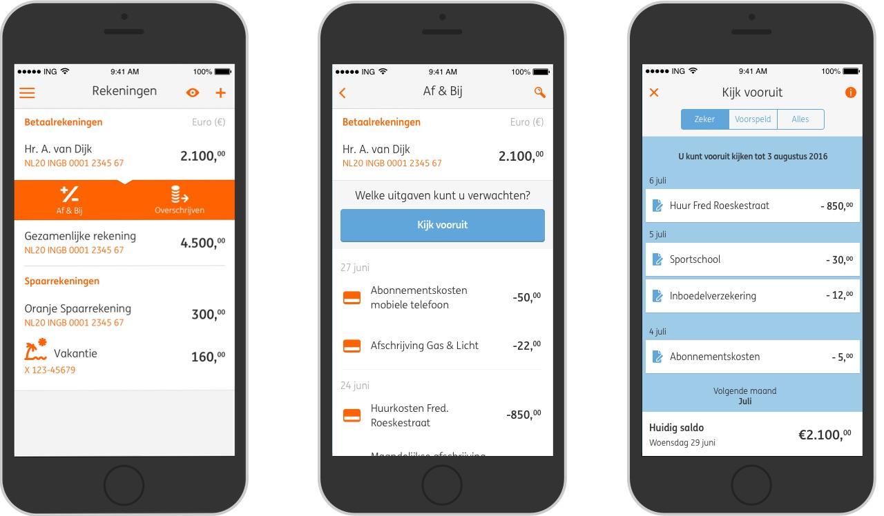 Vooruit kijken met de Kijk Vooruit-functie in ING Mobiel Bankieren.