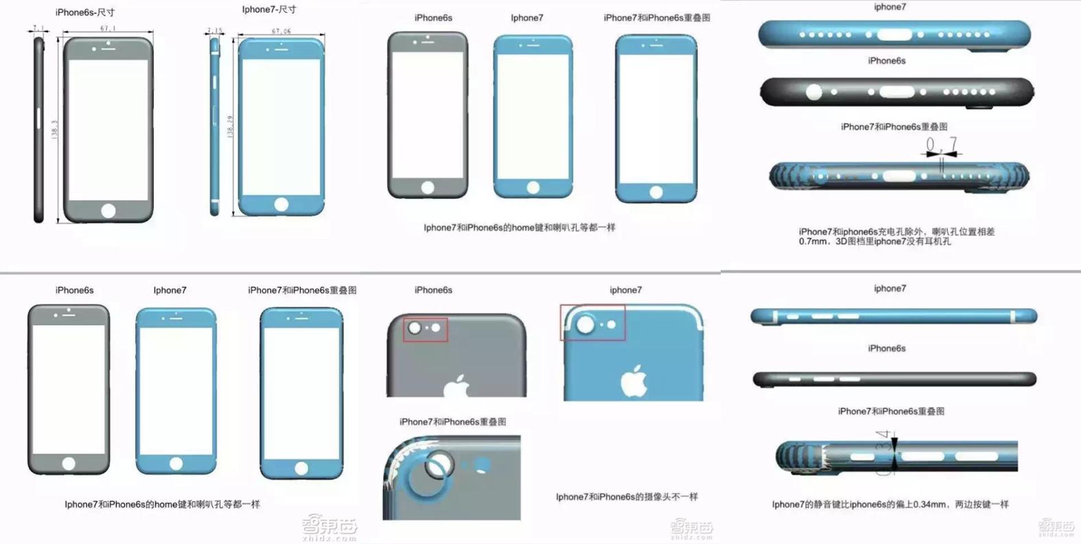 iPhone 7 - tekeningen met afmetingen en verschillende aanzichten