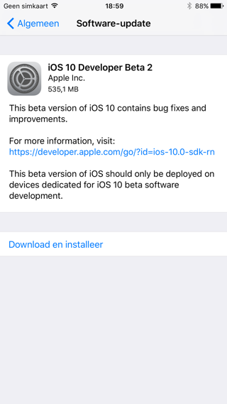 iOS 10 beta 2 infoscherm