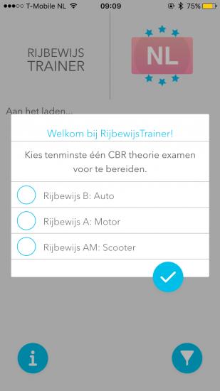 Rijbewijs Trainer-app - keuze