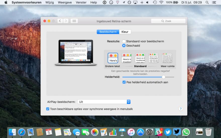 Retina Mac met grote tekst.