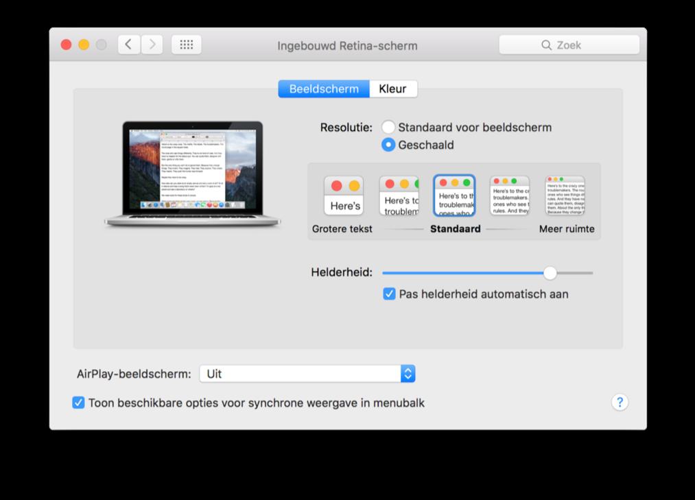 Resolutie en tekst aanpassen op een Retina Mac.
