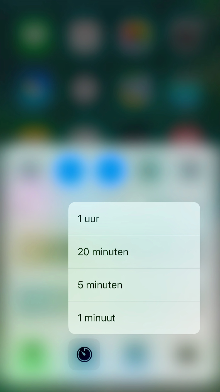Bedieningspaneel in iOS 10 met 3D Touch op Timer.