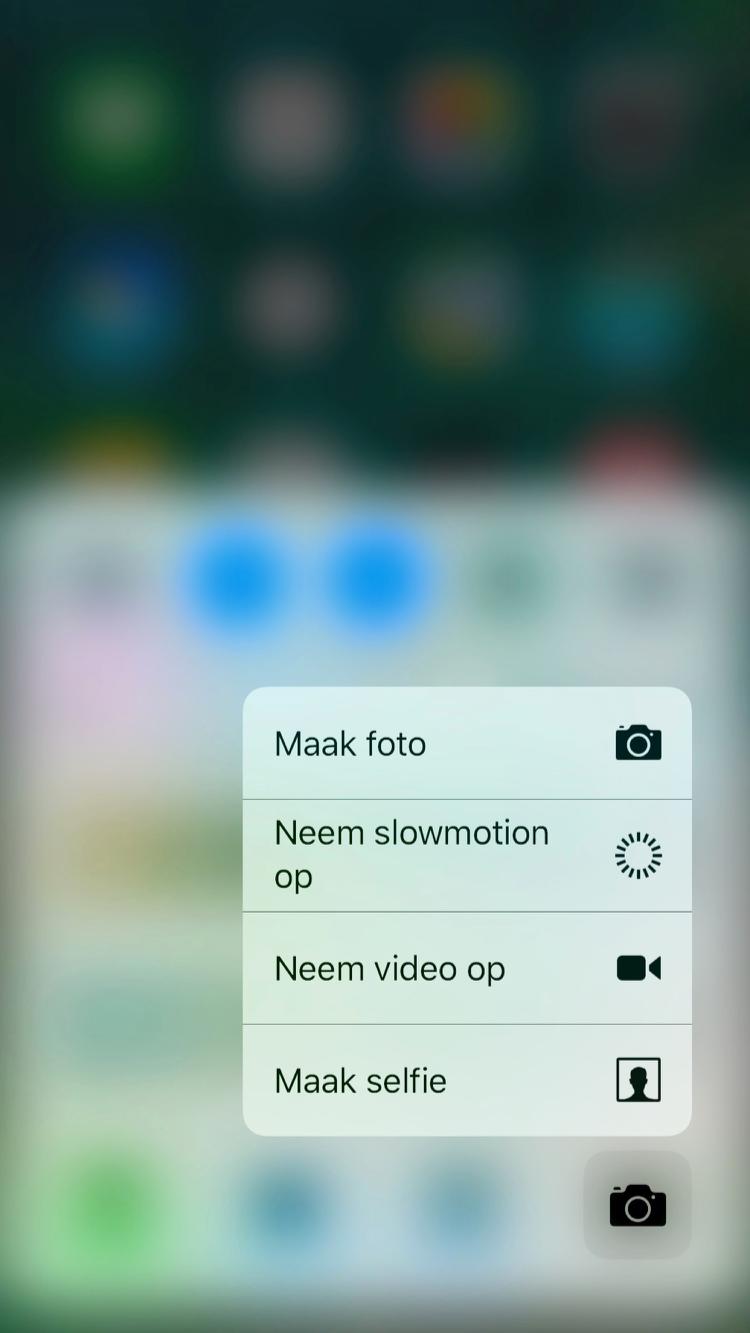 Bedieningspaneel in iOS 10 met 3D Touch op camera.