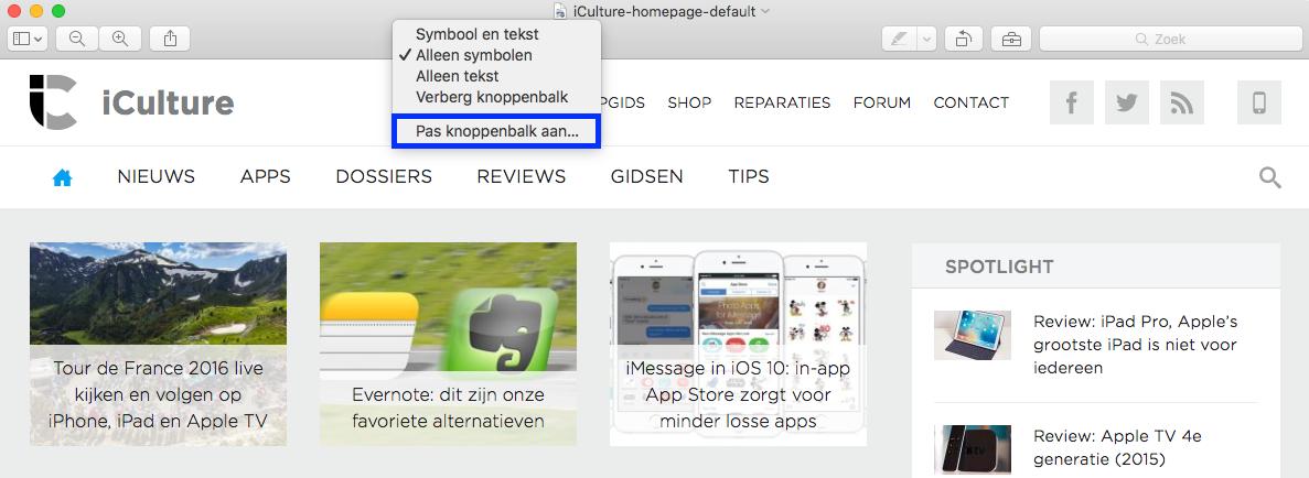 iCulture-homepage in voorvertoning - menu