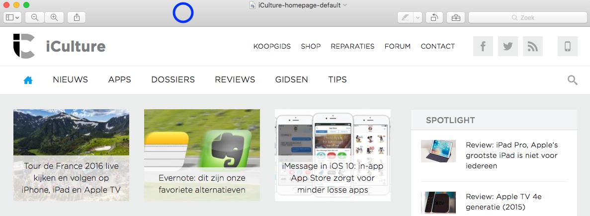 iCulture-homepage in voorvertoning