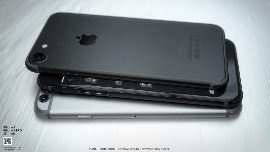 Donkere iPhone 7-concept in een stapel.