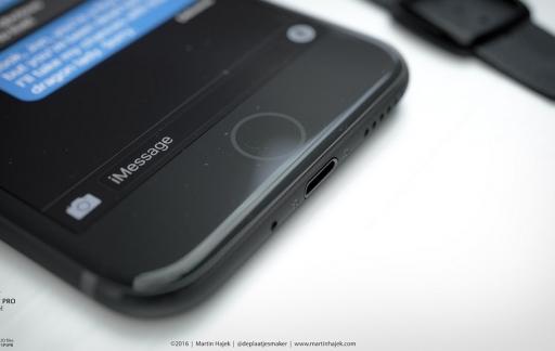 Donkere iPhone 7 met nieuwe homeknop.