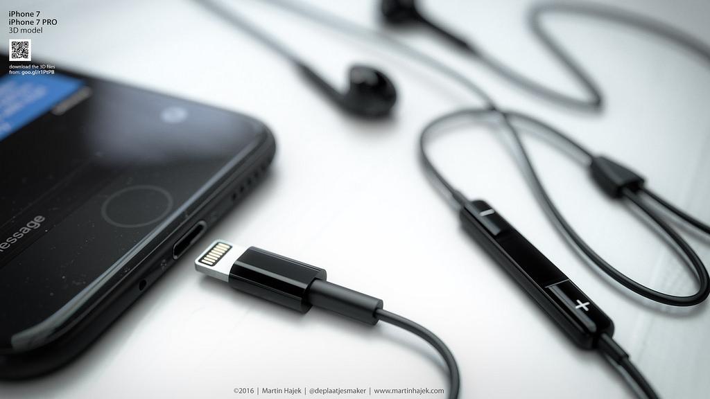 Donkere iPhone 7 met EarPods.