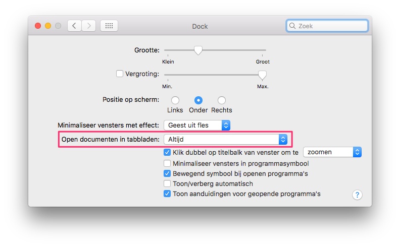 Documenten openen in tabbladen in macOS Sierra.