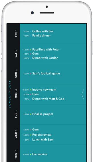 Timepage Moleskine agenda-app