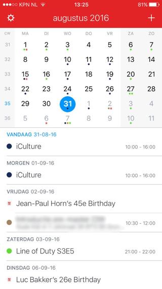 Fantastical 2 voor iPhone - overzicht