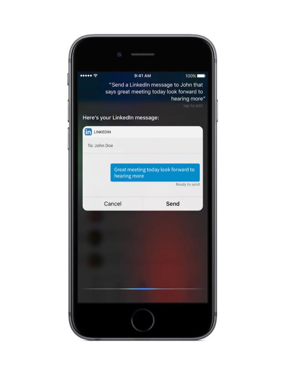 LinkedIn met Siri in iOS 10.