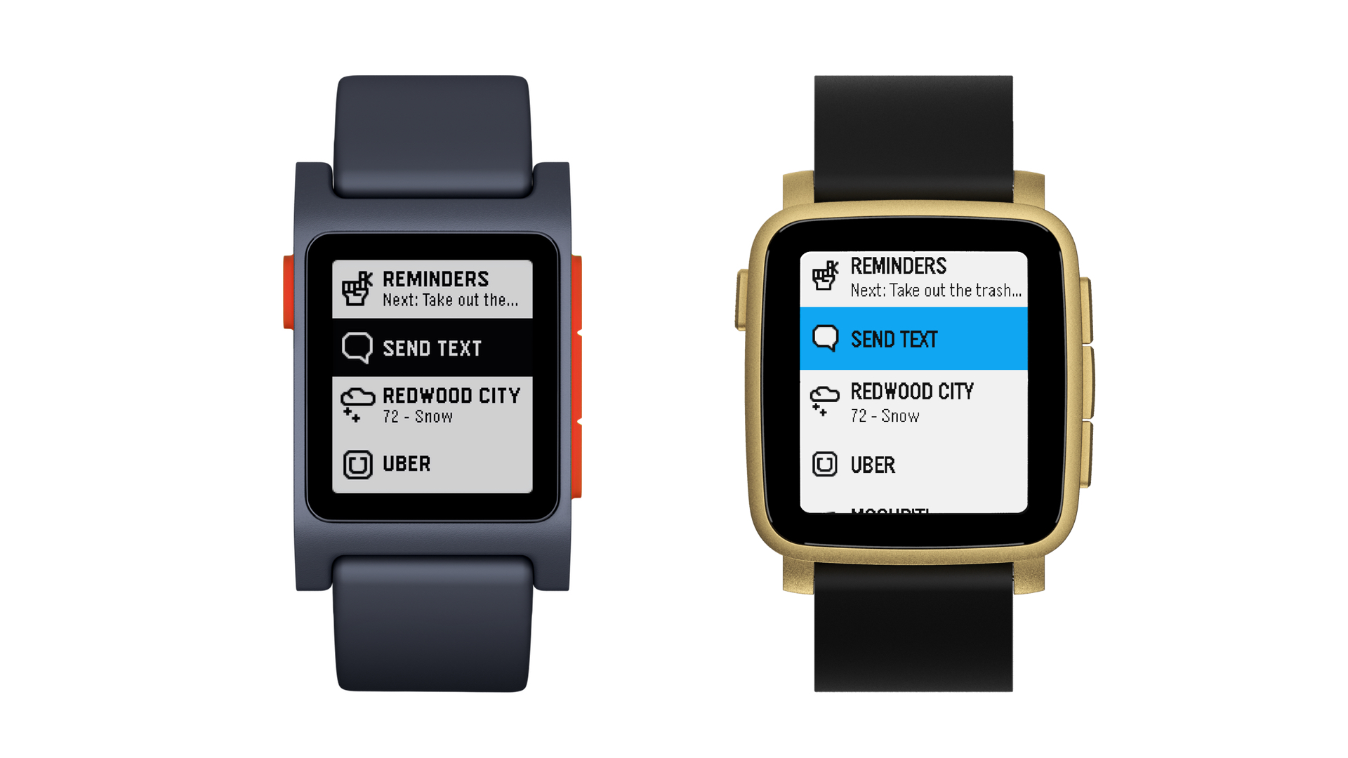 Pebble 4.0 menu