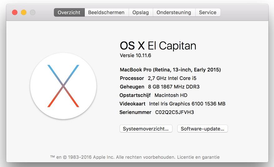 Over deze Mac info