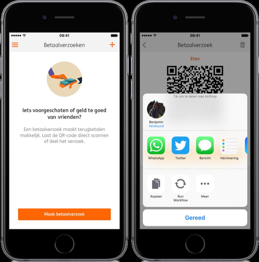 Betaalverzoek delen via ING Mobiel Bankieren.