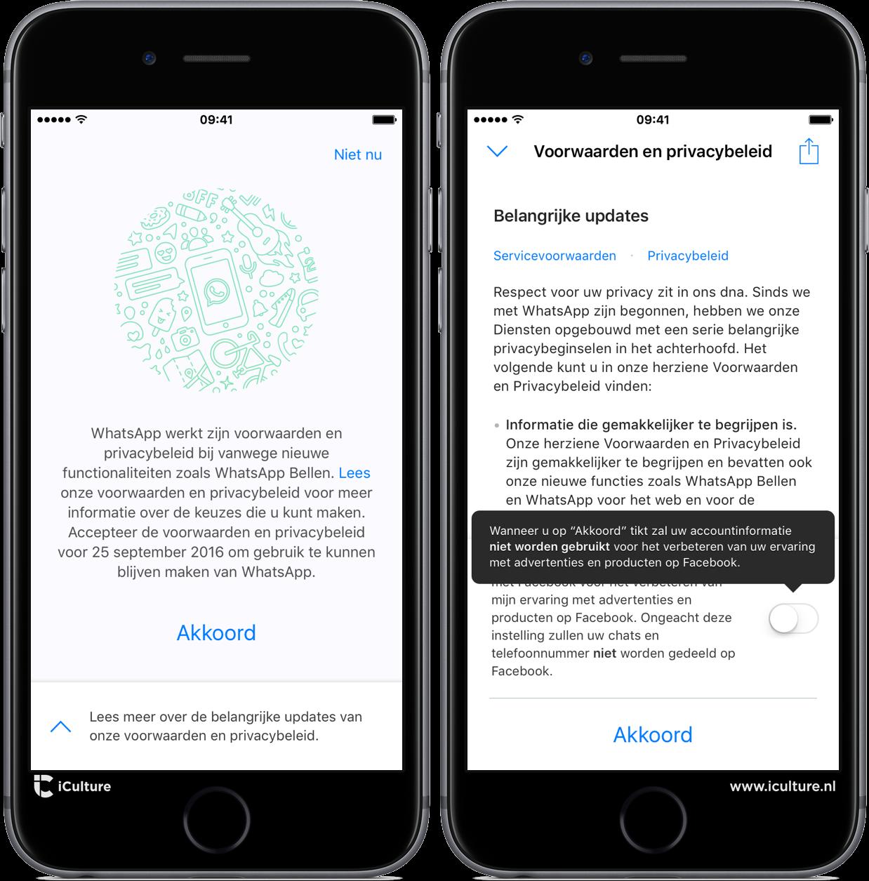Nieuwe WhatsApp-voorwaarden accepteren en data delen uitschakelen.
