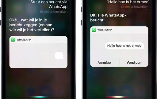 WhatsApp met Siri gebruiken.