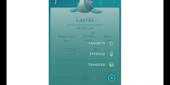 Pokémon Appraise-functie met Lapras
