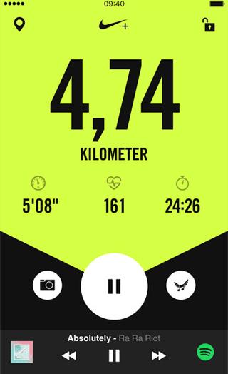Nike Run Club-app: voorgang tijdens het hardlopen