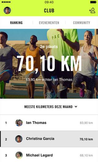 Nike Run Club-app: rankings om resultaten te vergelijken met vrienden