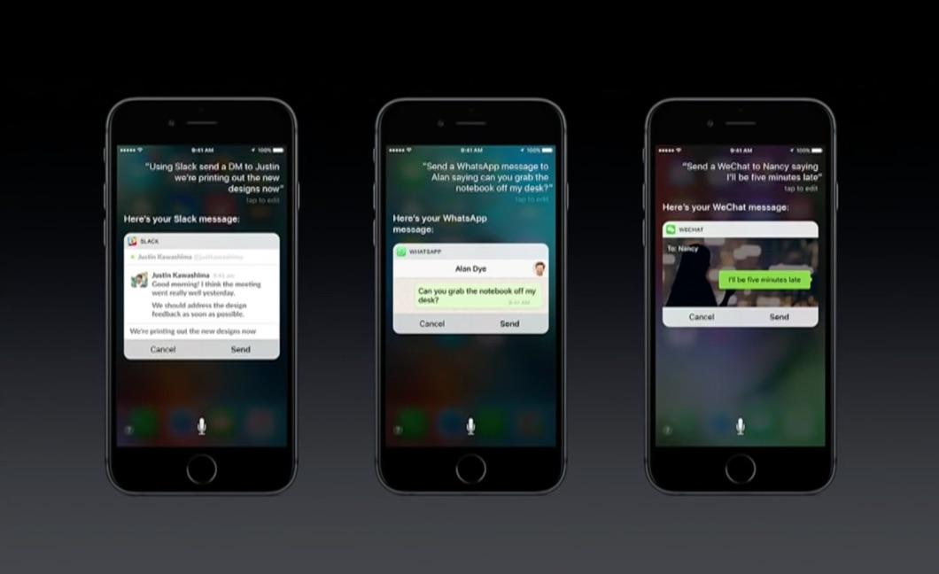 Siri in Berichten-apps zoals Slack, WhatsApp en WeChat.