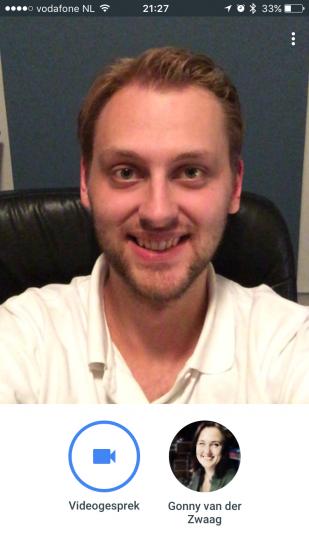 Startscherm voor bellen via Duo van Google.