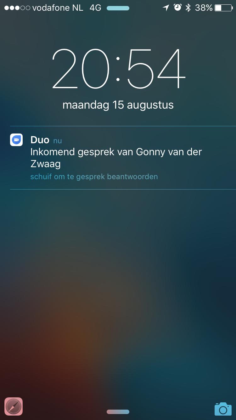 Melding van Duo van Google.