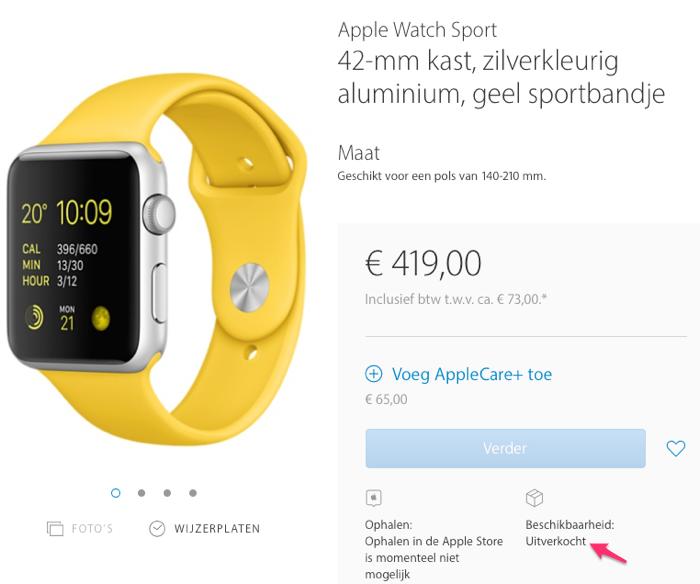 Apple Watch uitverkocht met geel sportbandje