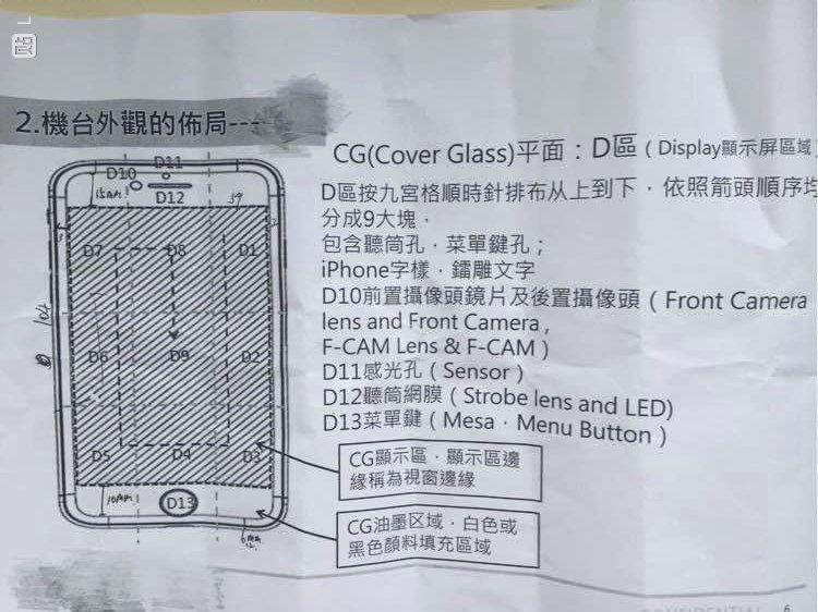 Voorkant van mogelijke productie papieren van de iPhone 7.