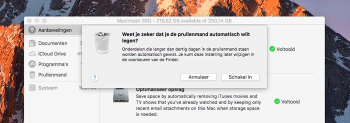 macOS Sierra: prullenbak automatisch legen