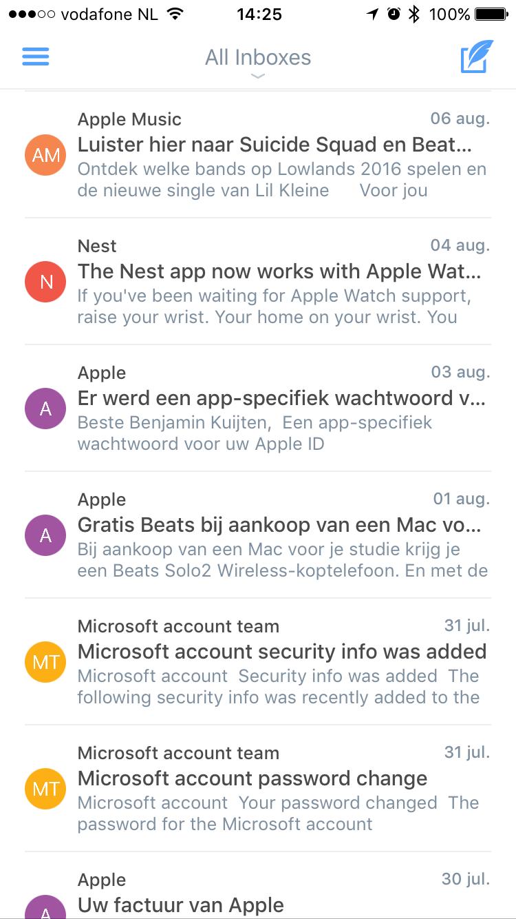 Lijst van mails in Polymail.