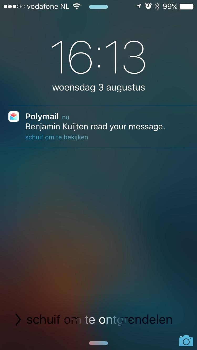 Melding van een gelezen mail in Polymail.
