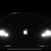 Koplampen van een Apple Car.