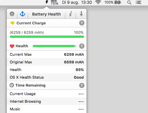 Menubalk met Battery Health