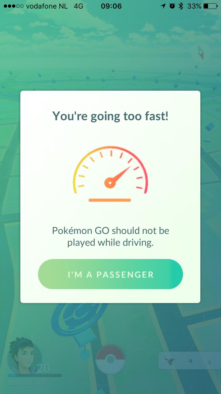 Pokemon Go kijkt naar hoe hard je beweegt.