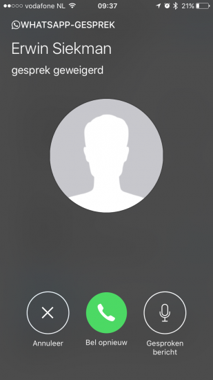 WhatsApp-gesprek opgehangen.