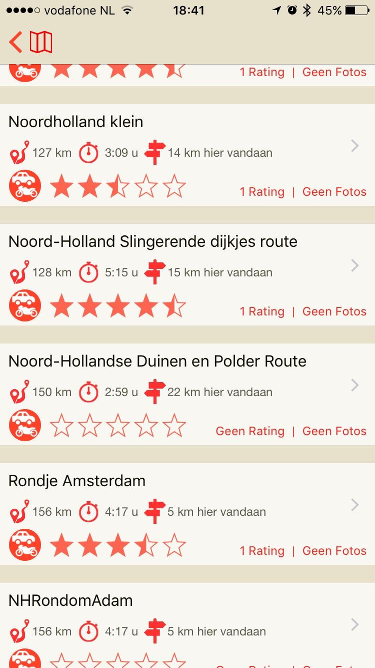 Lijst van routes in Scenic.